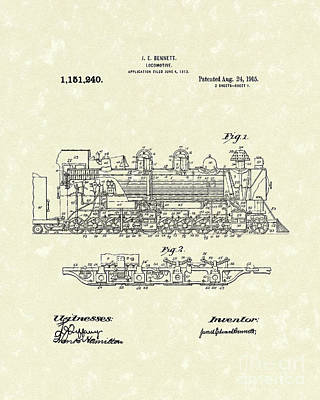Train Drawing - Locomotive 1915 Patent Art by Prior Art Design