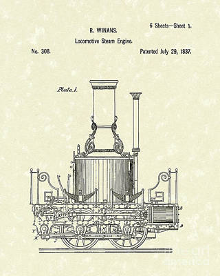 Train Drawing - Locomotive Steam Engine 1837 Patent by Prior Art Design