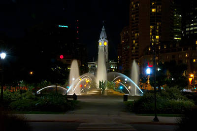 Water Fountain Digital Art - Logan Circle Fountain With City Hall At Night by Bill Cannon