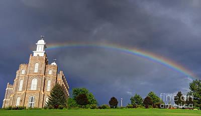 Logan Temple Photograph - Logan Mormon Lds Temple Rainbow  by Gary Whitton