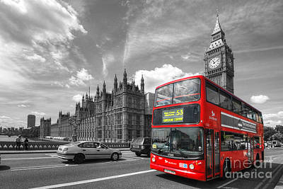Photograph - London Big Ben And Red Bus by Yhun Suarez