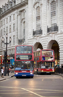 Transportation Of Goods Photograph - London Buses Passing The Alliance Life by Justin Guariglia