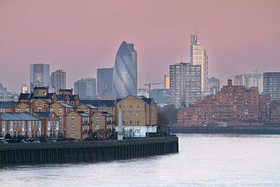 Commercial Photograph - London City View Down Thames by SarahB Photography