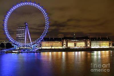 London Eye @ Night Art Print by Ronald Monong