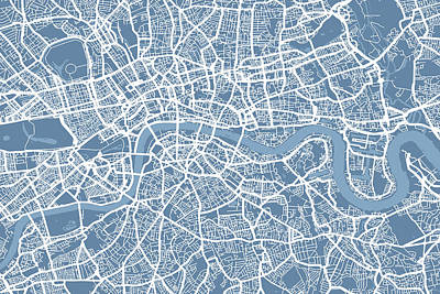London Map Art Steel Blue Art Print