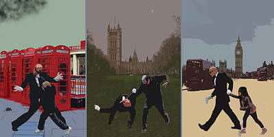 London Matrix Triptych Art Print by Jasna Buncic