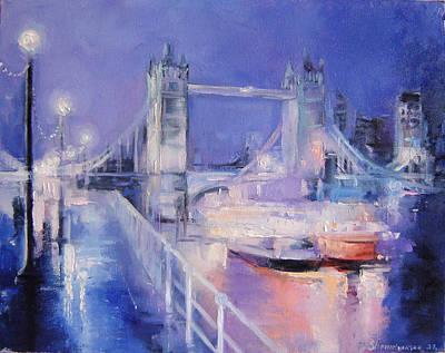 London Night Art Print by Nelya Shenklyarska