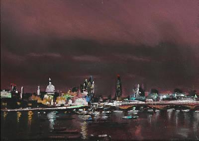London Night Skyline 1 Art Print by Paul Mitchell