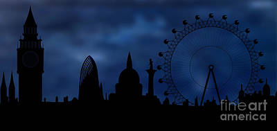 Eerie Digital Art - London Skyline - Night by Michal Boubin