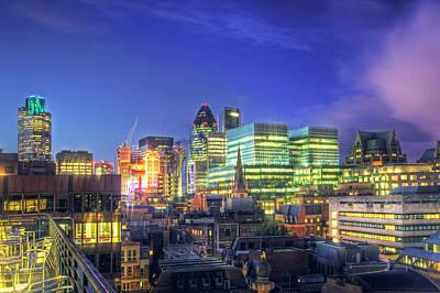 London Skyline At Night Art Print by Gregory Warran