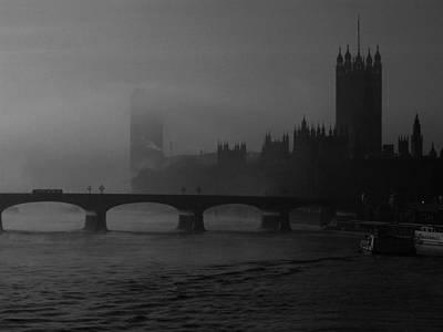 London Under Morning Fog Black And White Original