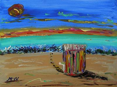 Beach Landscape Drawing - Lone Beach Cabana By Mary Carol by Mary Carol Williams