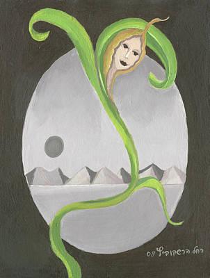 Fantasy Painting - Lone Corn Face In Desert Landscape by Rachel Hershkovitz