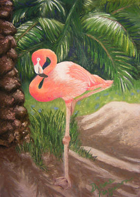 Art Print featuring the pastel Lone Flamingo by Diane Ferguson