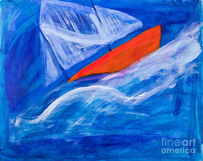 Lone Sailing Boat At Sea Art Print by Simon Bratt Photography LRPS