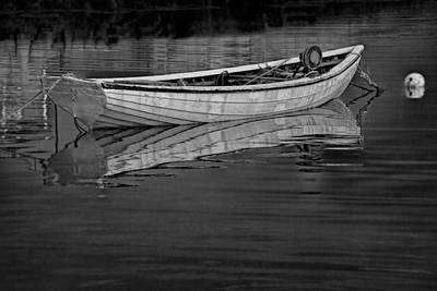 Wilderness Camping - Lone White Boat in Nova Scotia by Randall Nyhof