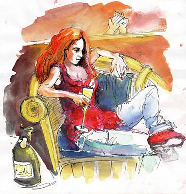Glass Bottle Drawing - Loneliness by Miki De Goodaboom