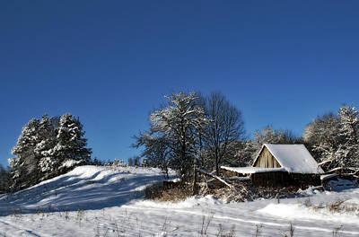 Lonely Rural Log Hut Brought By Snow Art Print by Aleksandr Volkov