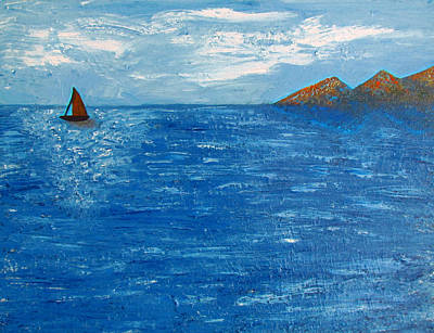 British Columbia Painting - Lonely Sailboat by Eva Kondzialkiewicz