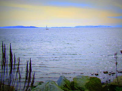 British Columbia Digital Art - Lonely Sailboat II by Eva Kondzialkiewicz