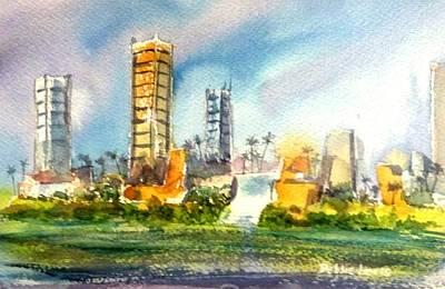Painting - Long Beach Oil Islands by Debbie Lewis
