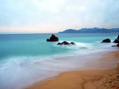 Long Exposure Of Blue Sea Print by Federica Fortunat