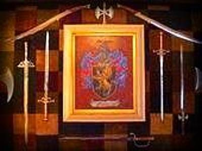 Long Painting - Long Family Crest And Coat Of Arms  by Nancy Rutland