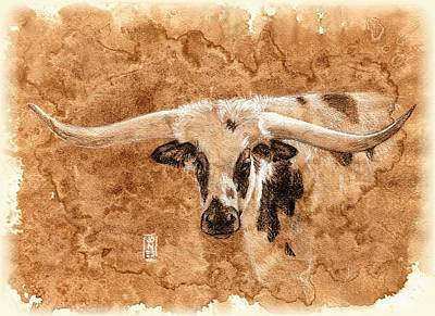 Ranch Drawing - Long Horns by Debra Jones