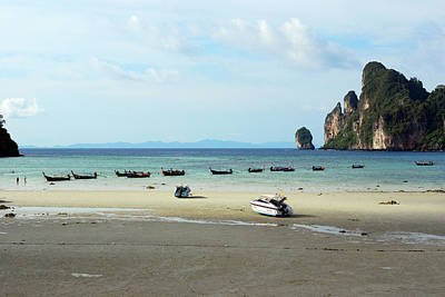 Long Tail Boats In Bay Of Phi Phi, Thailand Art Print
