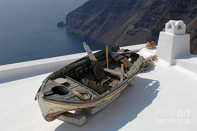 Photograph - Rooftop Santorini Greece by Bob Christopher