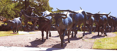 Cattle Drive Photograph - Longhorn Cattle Drive In Bronze by DiDi Higginbotham
