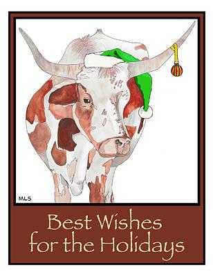Steer Painting - Longhorn Christmas by Marla Saville