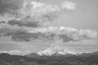 Photograph - Longs Peak And Mt Meeker Black And White by James BO Insogna