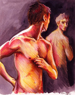 Gay Erotic Art Painting - Look Over Your Shoulder by Rene Capone
