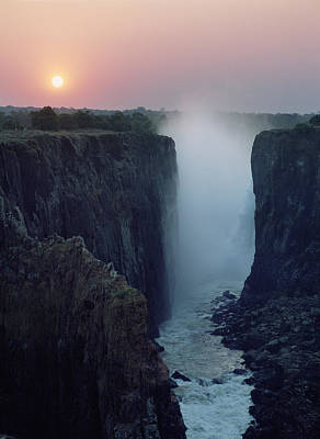 Looking Along Victoria Falls At Dusk Art Print by Axiom Photographic