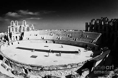 Looking Down On Main Arena Of Old Roman Colloseum El Jem Tunisia Art Print by Joe Fox