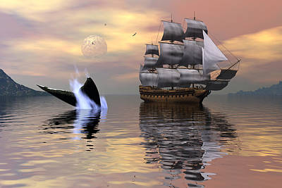 Whale Digital Art - Looking For Moby Dick by Claude McCoy