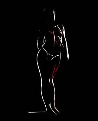 Female Body Digital Art - Looking Girl by Steve K
