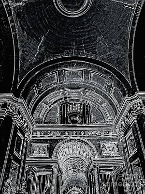 Art Print featuring the photograph Looking Up. Vatican. Black by Tanya  Searcy