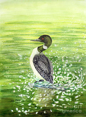 Art Print featuring the painting Loon Art Judy Filarecki Watercolor by Judy Filarecki