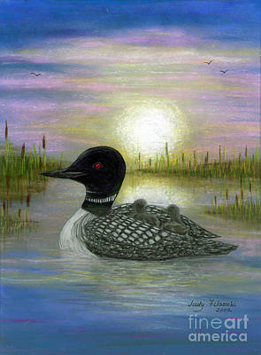 Loon Babies On Mother's Back Judy Filarecki Art Print