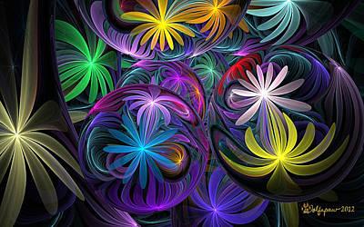 Not In Use Digital Art - Loonie Flowers by Peggi Wolfe