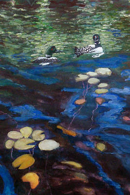 Lilly Pond Painting - Loons And Lillies by Judy Kowalchuk