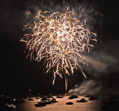 Lopez Island Fireworks 2 Art Print by David Salter