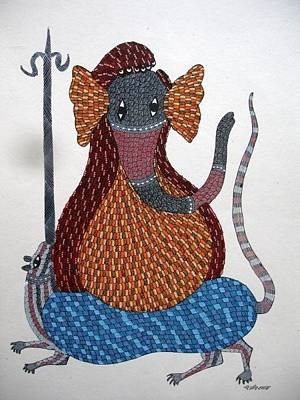 Gond Drawing - Lord Ganesha Ds216 by Dilip Shyam