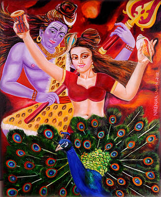 Tantra Painting - Lord Shiva-parvati Dancing by Nirendra Sawan