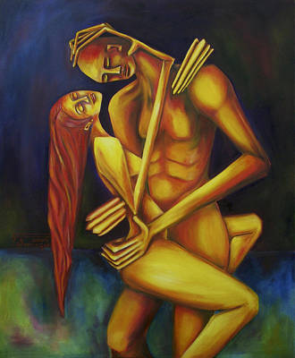 Painting - Los Amantes by Virginia Palomeque