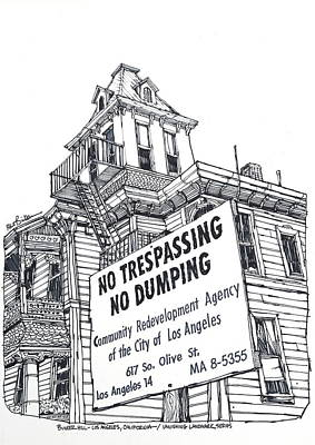 Bunker Hill Drawing - Los Angeles Bunker Hill Community Home by Robert Birkenes