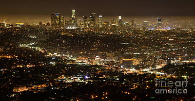 Los Angeles Skyline Photograph - Los Angeles  City View At Night  by Bob Christopher