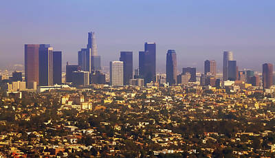 Photograph - Los Angeles From Above Cartoony by Ricky Barnard